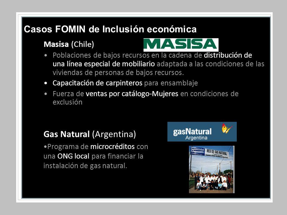 Masisa (Chile) Poblaciones de bajos recursos en la cadena de distribución de una línea especial de mobiliario adaptada a las condiciones de las viviendas de personas de bajos recursos.