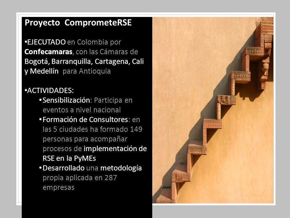 Proyecto ComprometeRSE EJECUTADO en Colombia por Confecamaras, con las Cámaras de Bogotá, Barranquilla, Cartagena, Cali y Medellín para Antioquia ACTIVIDADES: Sensibilización: Participa en eventos a nivel nacional Formación de Consultores: en las 5 ciudades ha formado 149 personas para acompañar procesos de implementación de RSE en la PyMEs Desarrollado una metodología propia aplicada en 287 empresas