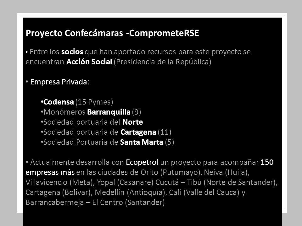 Proyecto Confecámaras -ComprometeRSE Entre los socios que han aportado recursos para este proyecto se encuentran Acción Social (Presidencia de la República) Empresa Privada: Codensa (15 Pymes) Monómeros Barranquilla (9) Sociedad portuaria del Norte Sociedad portuaria de Cartagena (11) Sociedad Portuaria de Santa Marta (5) Actualmente desarrolla con Ecopetrol un proyecto para acompañar 150 empresas más en las ciudades de Orito (Putumayo), Neiva (Huila), Villavicencio (Meta), Yopal (Casanare) Cucutá – Tibú (Norte de Santander), Cartagena (Bolivar), Medellín (Antioquía), Cali (Valle del Cauca) y Barrancabermeja – El Centro (Santander)