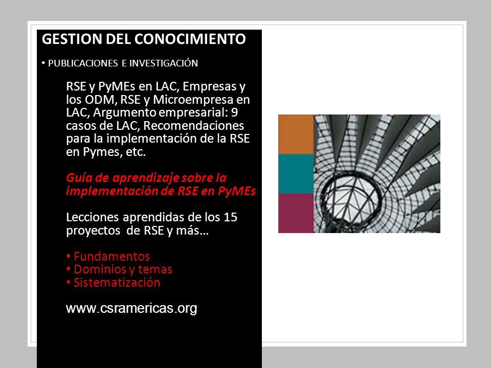 GESTION DEL CONOCIMIENTO PUBLICACIONES E INVESTIGACIÓN RSE y PyMEs en LAC, Empresas y los ODM, RSE y Microempresa en LAC, Argumento empresarial: 9 casos de LAC, Recomendaciones para la implementación de la RSE en Pymes, etc.