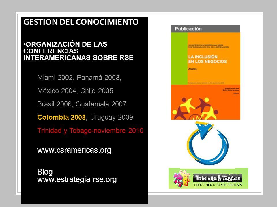 GESTION DEL CONOCIMIENTO ORGANIZACIÓN DE LAS CONFERENCIAS INTERAMERICANAS SOBRE RSE Miami 2002, Panamá 2003, México 2004, Chile 2005 Brasil 2006, Guatemala 2007 Colombia 2008, Uruguay 2009 Trinidad y Tobago-noviembre 2010 www.csramericas.org Blog www.estrategia-rse.org