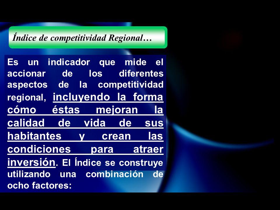 Es un indicador que mide el accionar de los diferentes aspectos de la competitividad regional, incluyendo la forma cómo éstas mejoran la calidad de vida de sus habitantes y crean las condiciones para atraer inversión.