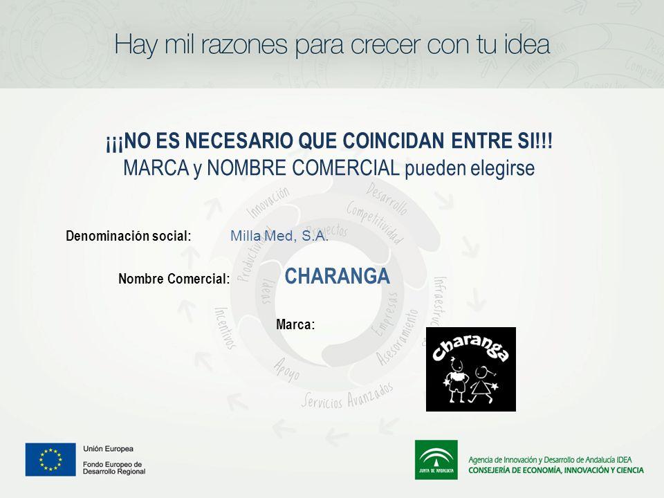 ¡¡¡NO ES NECESARIO QUE COINCIDAN ENTRE SI!!! MARCA y NOMBRE COMERCIAL pueden elegirse Denominación social: Milla Med, S.A. Nombre Comercial: CHARANGA