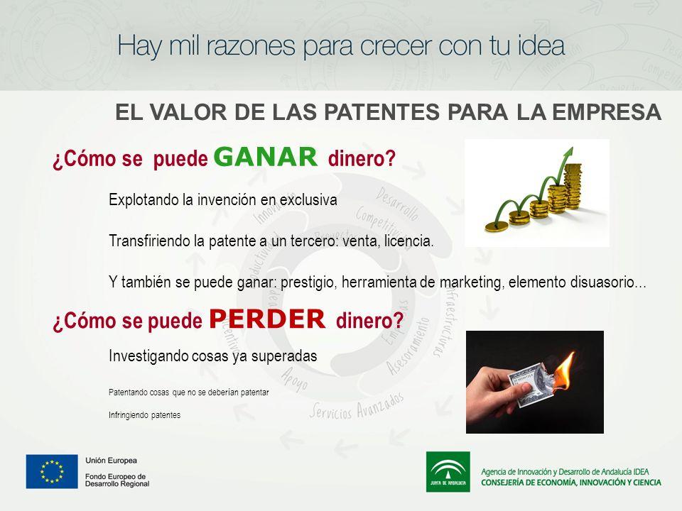 Explotando la invención en exclusiva Transfiriendo la patente a un tercero: venta, licencia. Y también se puede ganar: prestigio, herramienta de marke