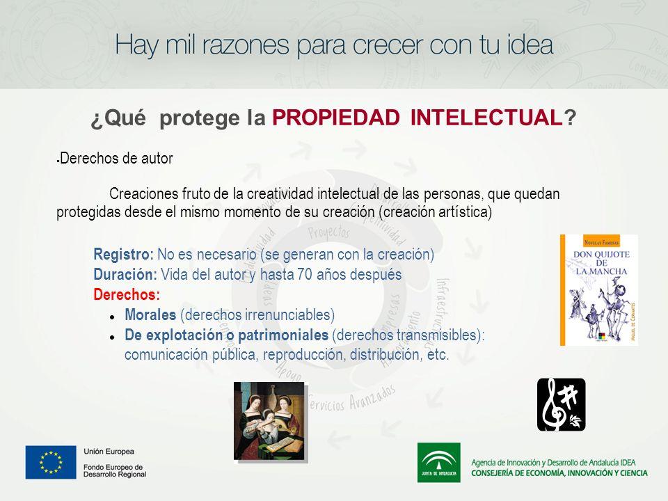 ¿Qué protege la PROPIEDAD INTELECTUAL? Derechos de autor Creaciones fruto de la creatividad intelectual de las personas, que quedan protegidas desde e
