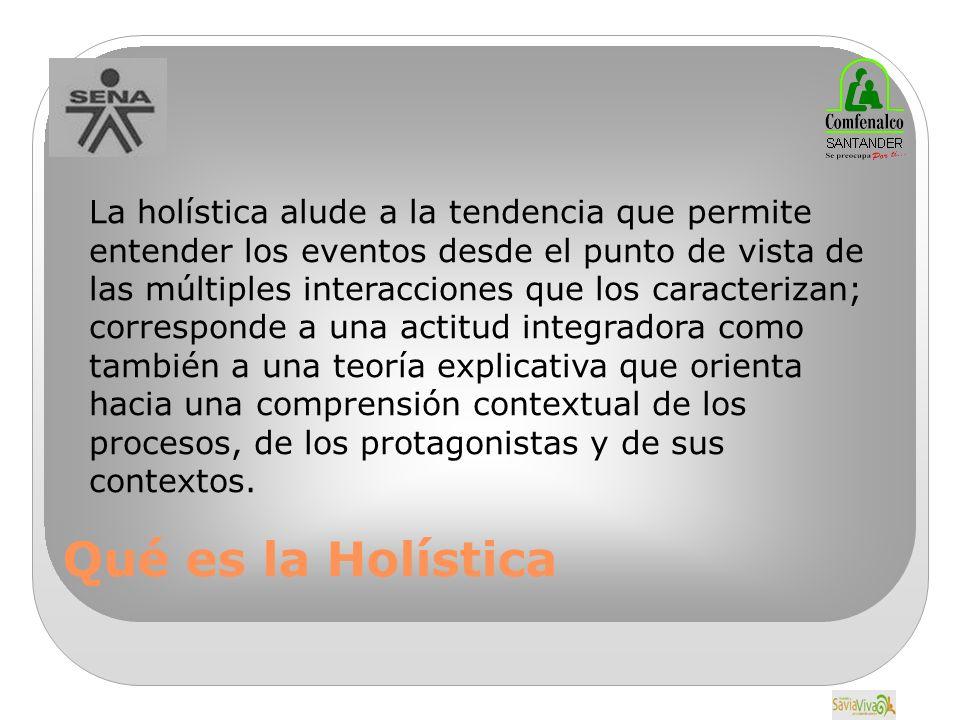 Qué es la Holística La holística alude a la tendencia que permite entender los eventos desde el punto de vista de las múltiples interacciones que los caracterizan; corresponde a una actitud integradora como también a una teoría explicativa que orienta hacia una comprensión contextual de los procesos, de los protagonistas y de sus contextos.