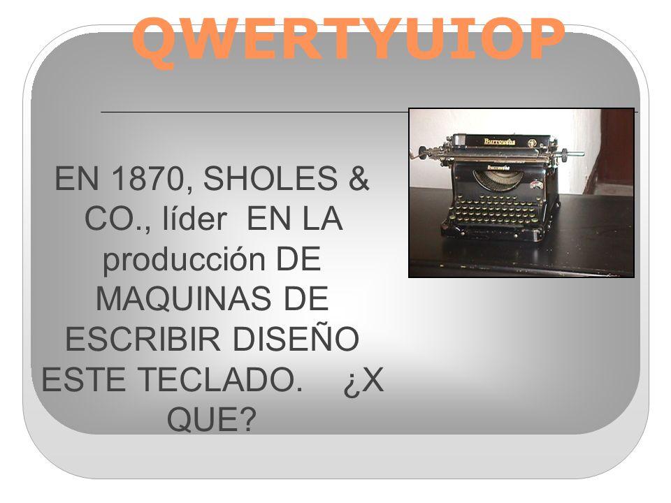EN 1870, SHOLES & CO., líder EN LA producción DE MAQUINAS DE ESCRIBIR DISEÑO ESTE TECLADO.
