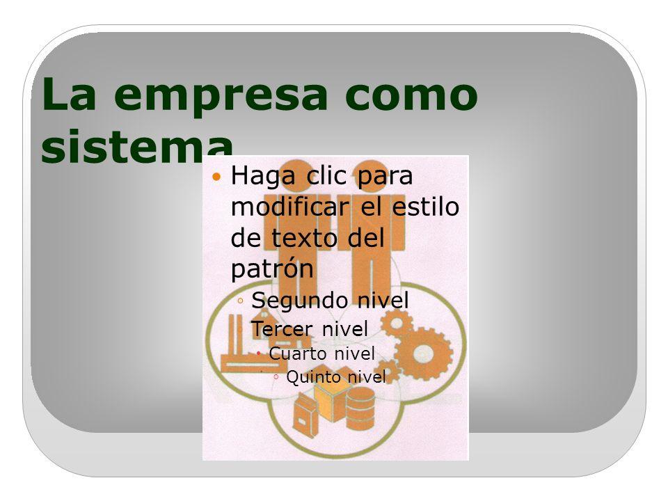 La empresa como sistema Haga clic para modificar el estilo de texto del patrón Segundo nivel Tercer nivel Cuarto nivel Quinto nivel