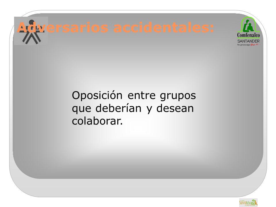 Adversarios accidentales: Oposición entre grupos que deberían y desean colaborar.