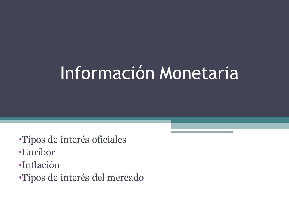 Información Monetaria Tipos de interés oficiales Euribor Inflación Tipos de interés del mercado