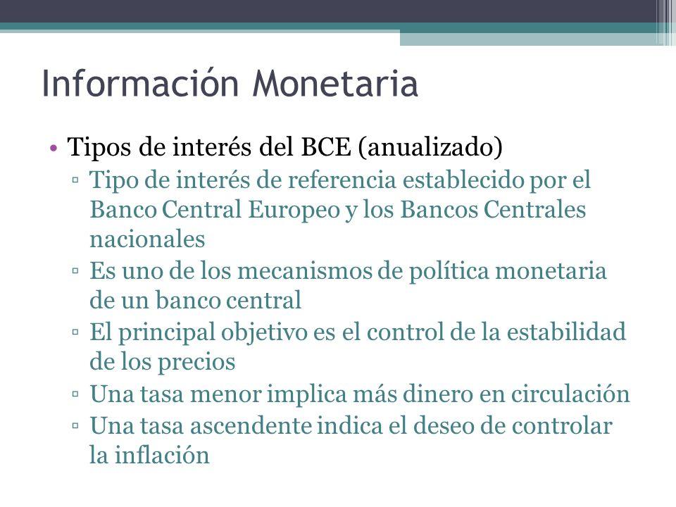 Información Monetaria Tipos de interés del BCE (anualizado) Tipo de interés de referencia establecido por el Banco Central Europeo y los Bancos Centrales nacionales Es uno de los mecanismos de política monetaria de un banco central El principal objetivo es el control de la estabilidad de los precios Una tasa menor implica más dinero en circulación Una tasa ascendente indica el deseo de controlar la inflación
