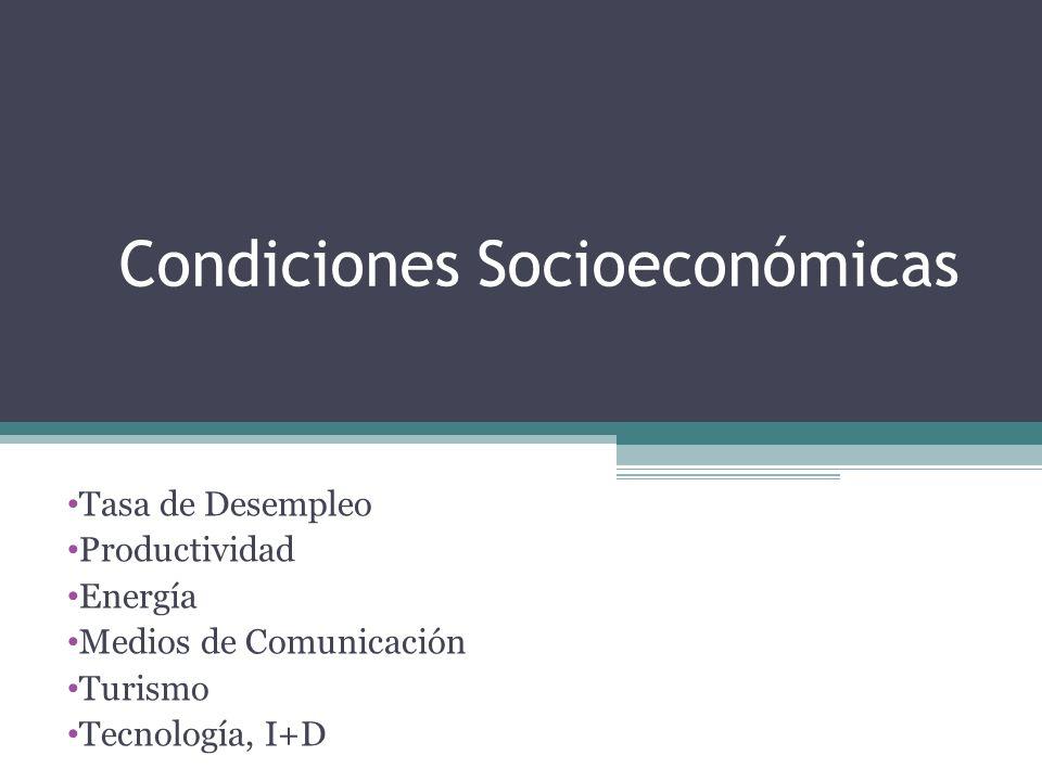 Condiciones Socioeconómicas Tasa de Desempleo Productividad Energía Medios de Comunicación Turismo Tecnología, I+D