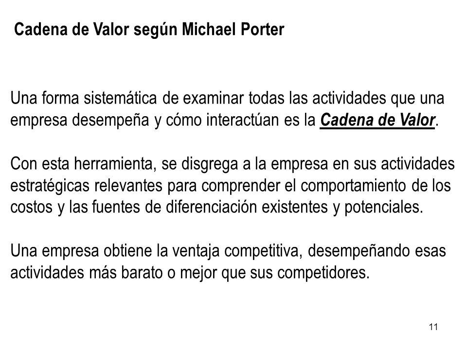 11 Cadena de Valor según Michael Porter Una forma sistemática de examinar todas las actividades que una empresa desempeña y cómo interactúan es la Cad
