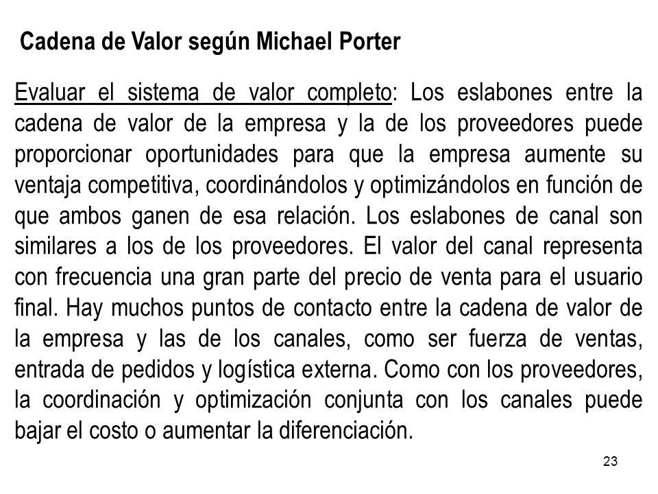 23 Cadena de Valor según Michael Porter Evaluar el sistema de valor completo: Los eslabones entre la cadena de valor de la empresa y la de los proveed
