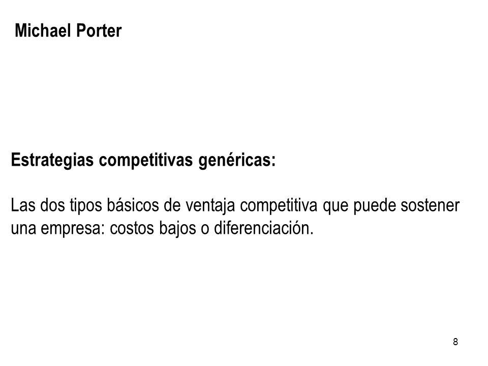 8 Michael Porter Estrategias competitivas genéricas: Las dos tipos básicos de ventaja competitiva que puede sostener una empresa: costos bajos o difer