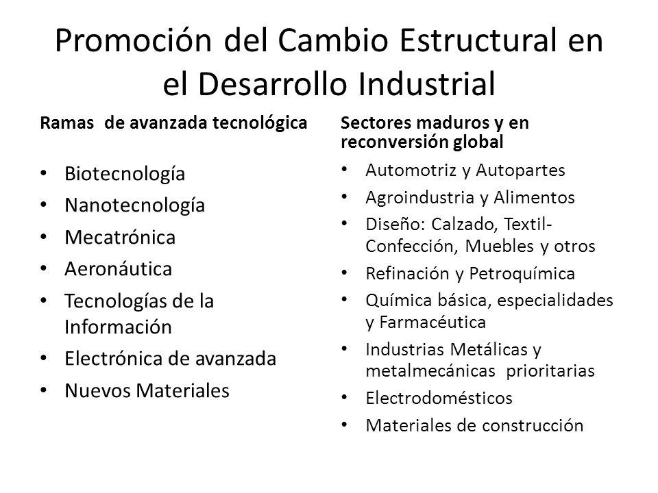 Promoción del Cambio Estructural en el Desarrollo Industrial Ramas de avanzada tecnológica Biotecnología Nanotecnología Mecatrónica Aeronáutica Tecnol