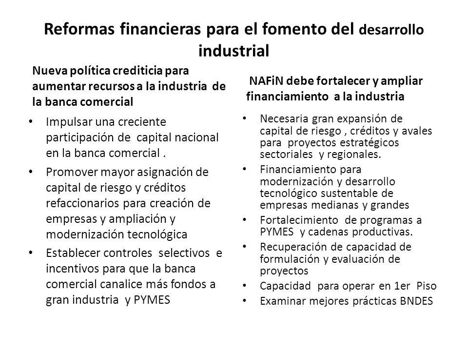 Nueva política crediticia para aumentar recursos a la industria de la banca comercial Impulsar una creciente participación de capital nacional en la banca comercial.