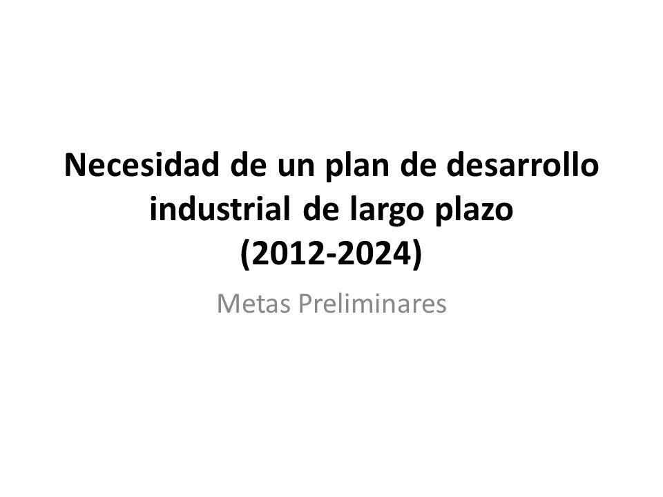 Necesidad de un plan de desarrollo industrial de largo plazo (2012-2024) Metas Preliminares