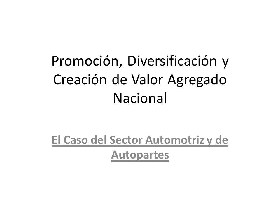 Promoción, Diversificación y Creación de Valor Agregado Nacional El Caso del Sector Automotriz y de Autopartes