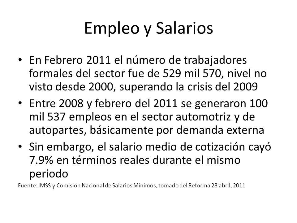 Empleo y Salarios En Febrero 2011 el número de trabajadores formales del sector fue de 529 mil 570, nivel no visto desde 2000, superando la crisis del