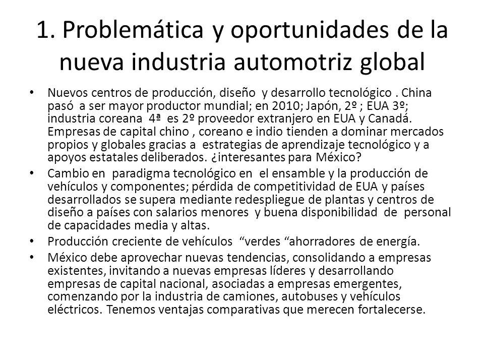 1. Problemática y oportunidades de la nueva industria automotriz global Nuevos centros de producción, diseño y desarrollo tecnológico. China pasó a se