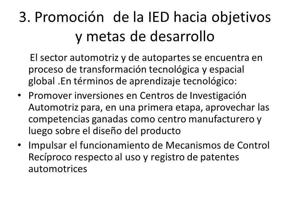 3. Promoción de la IED hacia objetivos y metas de desarrollo El sector automotriz y de autopartes se encuentra en proceso de transformación tecnológic