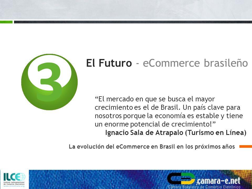 3 El Futuro - eCommerce brasileño La evolución del eCommerce en Brasil en los próximos años 23 El mercado en que se busca el mayor crecimiento es el de Brasil.