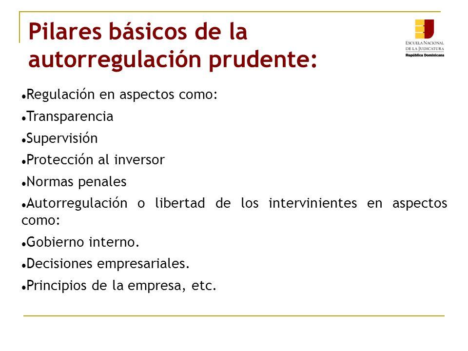 Pilares básicos de la autorregulación prudente: Regulación en aspectos como: Transparencia Supervisión Protección al inversor Normas penales Autorregulación o libertad de los intervinientes en aspectos como: Gobierno interno.