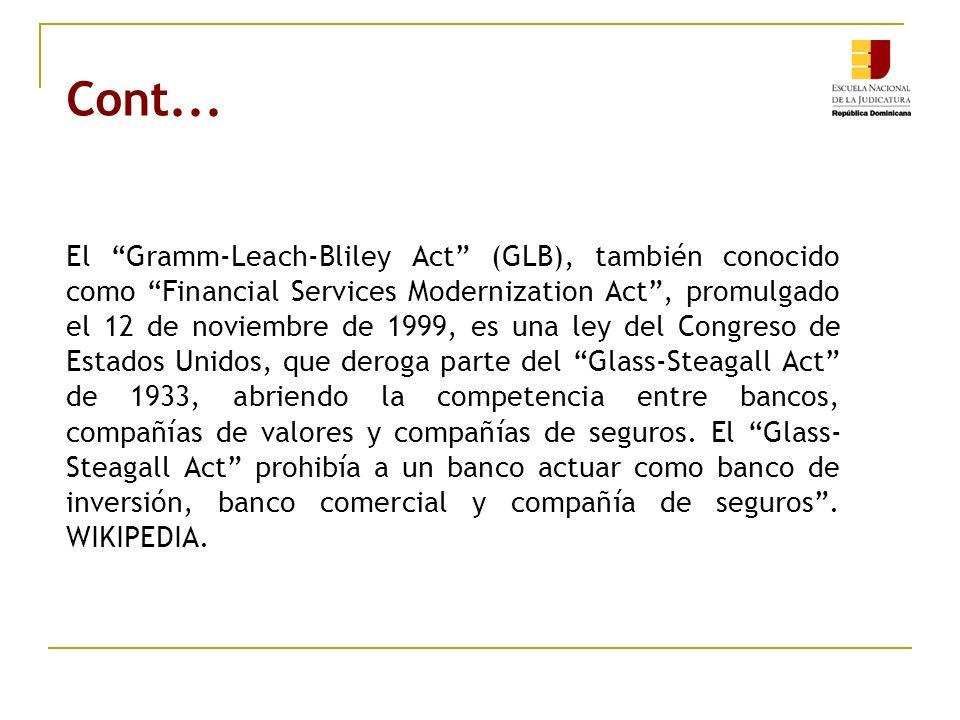 Cont... El Gramm-Leach-Bliley Act (GLB), también conocido como Financial Services Modernization Act, promulgado el 12 de noviembre de 1999, es una ley