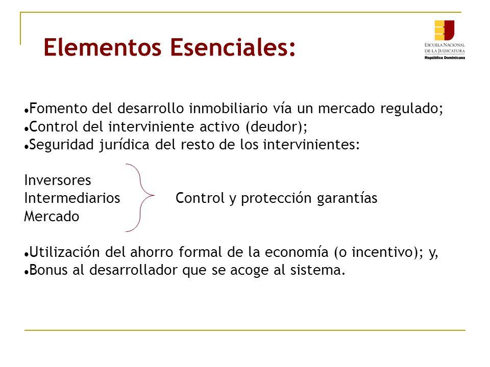 Elementos Esenciales: Fomento del desarrollo inmobiliario vía un mercado regulado; Control del interviniente activo (deudor); Seguridad jurídica del r