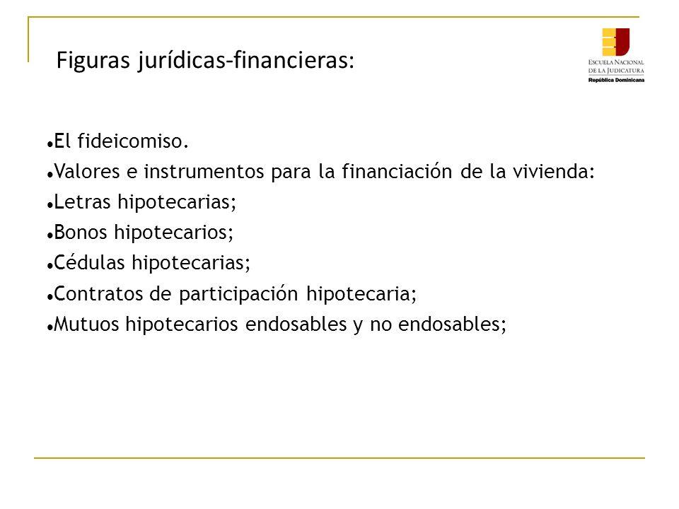 Figuras jurídicas-financieras: El fideicomiso. Valores e instrumentos para la financiación de la vivienda: Letras hipotecarias; Bonos hipotecarios; Cé