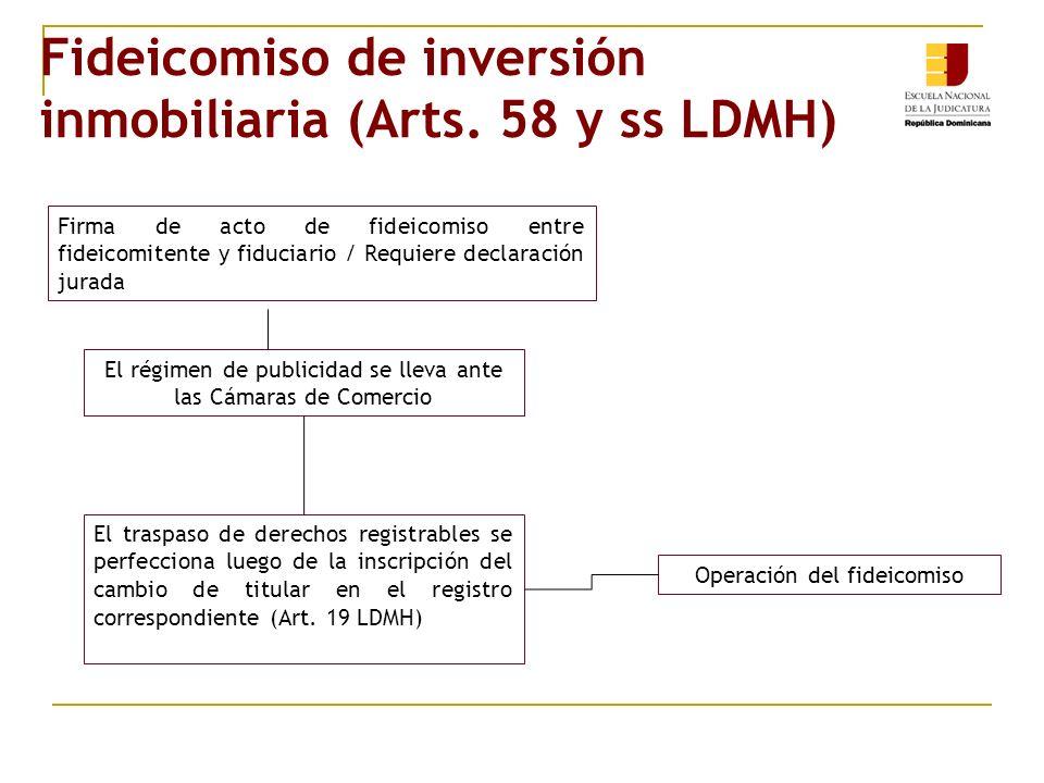 Fideicomiso de inversión inmobiliaria (Arts. 58 y ss LDMH) Firma de acto de fideicomiso entre fideicomitente y fiduciario / Requiere declaración jurad