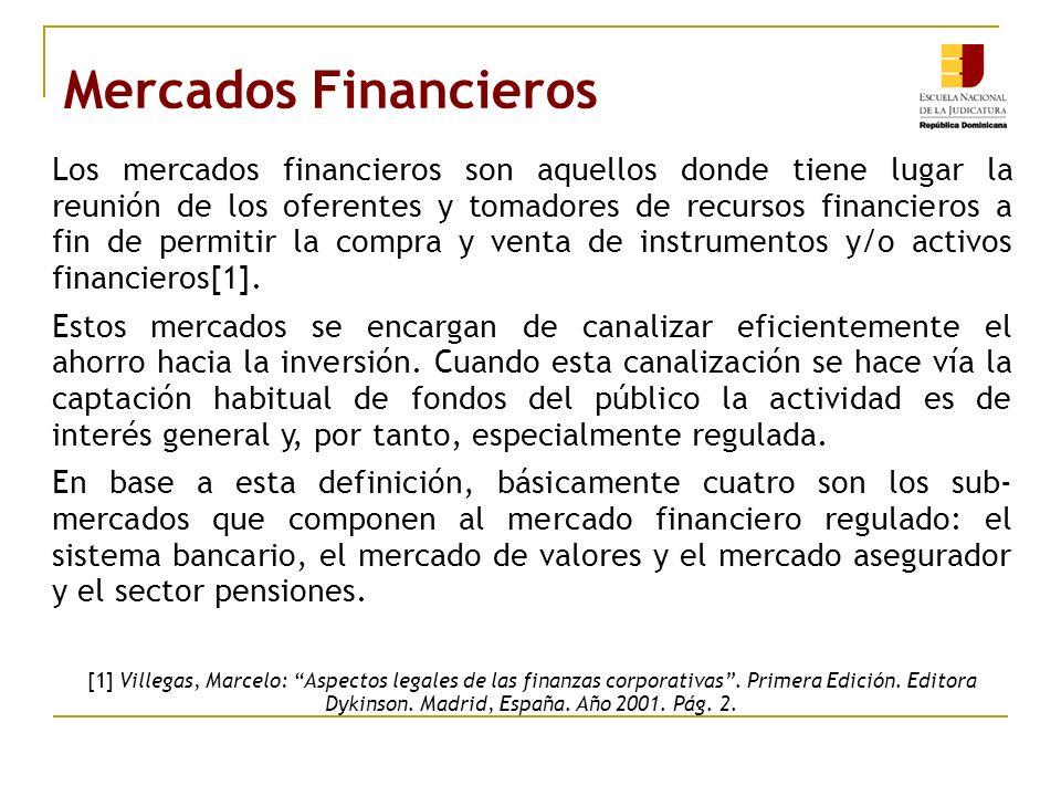 Mercados Financieros Los mercados financieros son aquellos donde tiene lugar la reunión de los oferentes y tomadores de recursos financieros a fin de permitir la compra y venta de instrumentos y/o activos financieros[1].