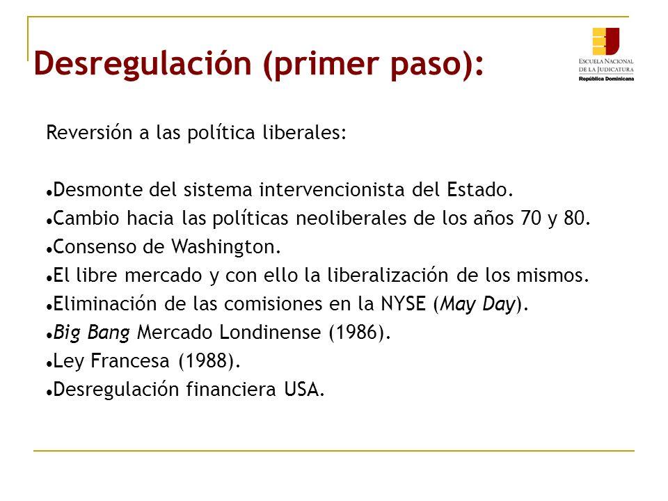 Desregulación (primer paso): Reversión a las política liberales: Desmonte del sistema intervencionista del Estado. Cambio hacia las políticas neoliber