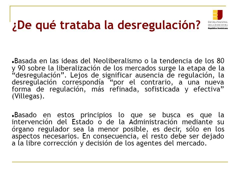 ¿De qué trataba la desregulación? Basada en las ideas del Neoliberalismo o la tendencia de los 80 y 90 sobre la liberalización de los mercados surge l