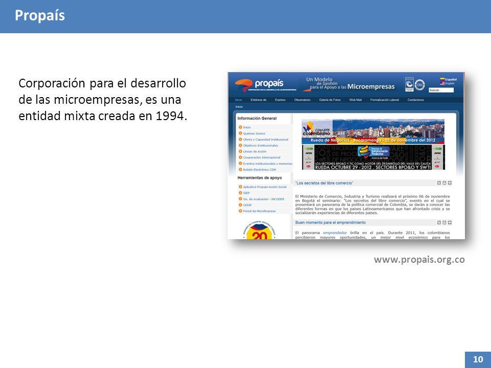 Propaís Corporación para el desarrollo de las microempresas, es una entidad mixta creada en 1994. www.propais.org.co 10