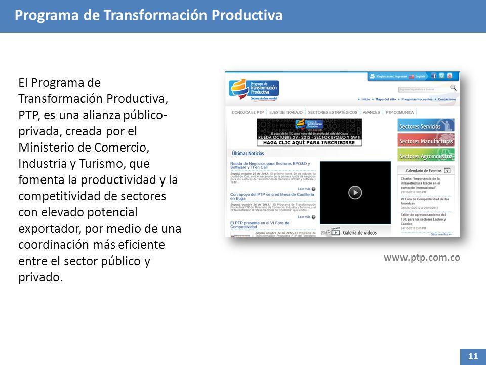 Programa de Transformación Productiva El Programa de Transformación Productiva, PTP, es una alianza público- privada, creada por el Ministerio de Come