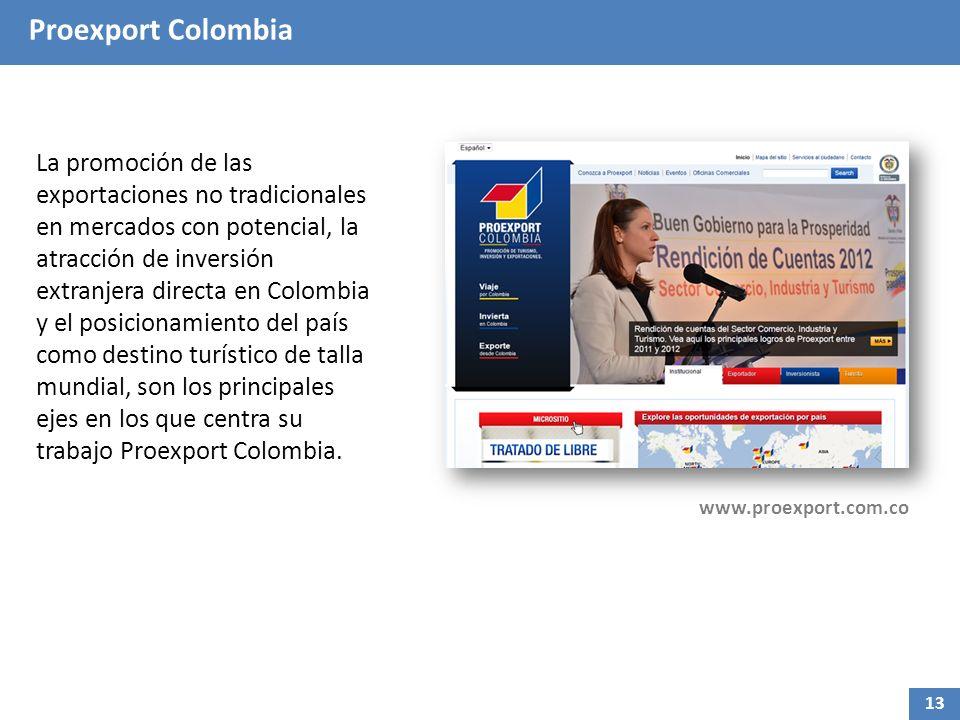 Proexport Colombia La promoción de las exportaciones no tradicionales en mercados con potencial, la atracción de inversión extranjera directa en Colombia y el posicionamiento del país como destino turístico de talla mundial, son los principales ejes en los que centra su trabajo Proexport Colombia.