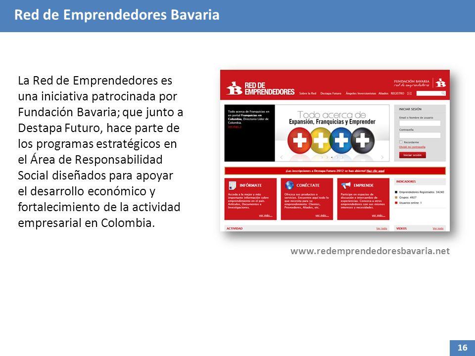 Red de Emprendedores Bavaria La Red de Emprendedores es una iniciativa patrocinada por Fundación Bavaria; que junto a Destapa Futuro, hace parte de los programas estratégicos en el Área de Responsabilidad Social diseñados para apoyar el desarrollo económico y fortalecimiento de la actividad empresarial en Colombia.