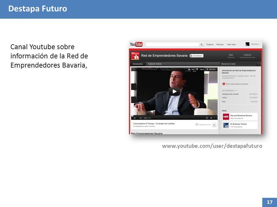 Destapa Futuro Canal Youtube sobre información de la Red de Emprendedores Bavaria, www.youtube.com/user/destapafuturo 17