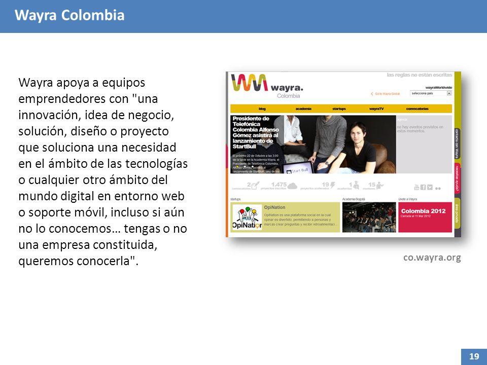 Wayra Colombia Wayra apoya a equipos emprendedores con una innovación, idea de negocio, solución, diseño o proyecto que soluciona una necesidad en el ámbito de las tecnologías o cualquier otro ámbito del mundo digital en entorno web o soporte móvil, incluso si aún no lo conocemos… tengas o no una empresa constituida, queremos conocerla .