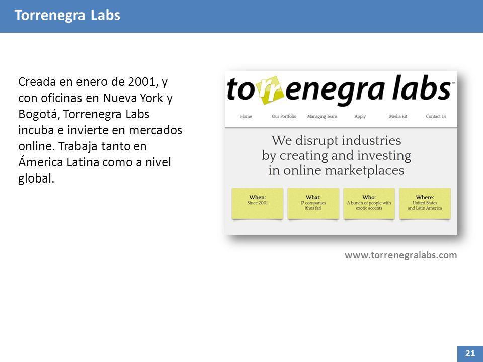 Torrenegra Labs Creada en enero de 2001, y con oficinas en Nueva York y Bogotá, Torrenegra Labs incuba e invierte en mercados online. Trabaja tanto en