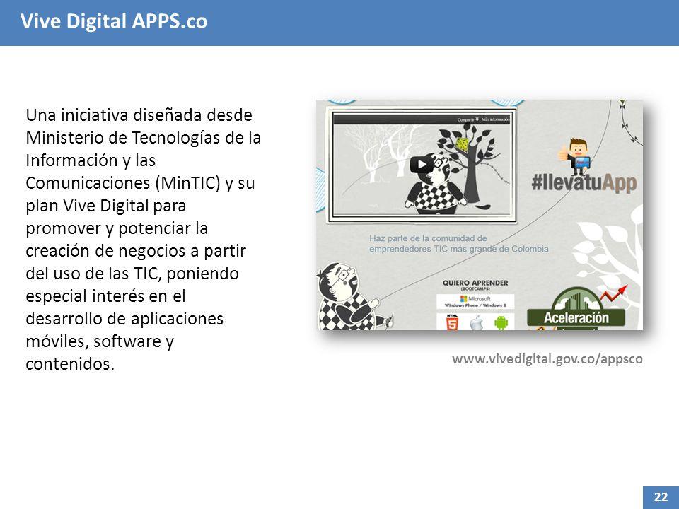 Vive Digital APPS.co Una iniciativa diseñada desde Ministerio de Tecnologías de la Información y las Comunicaciones (MinTIC) y su plan Vive Digital para promover y potenciar la creación de negocios a partir del uso de las TIC, poniendo especial interés en el desarrollo de aplicaciones móviles, software y contenidos.