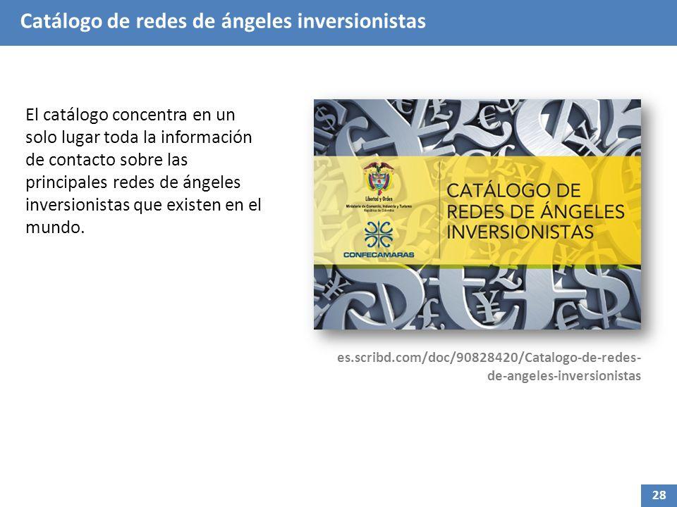 Catálogo de redes de ángeles inversionistas El catálogo concentra en un solo lugar toda la información de contacto sobre las principales redes de ángeles inversionistas que existen en el mundo.