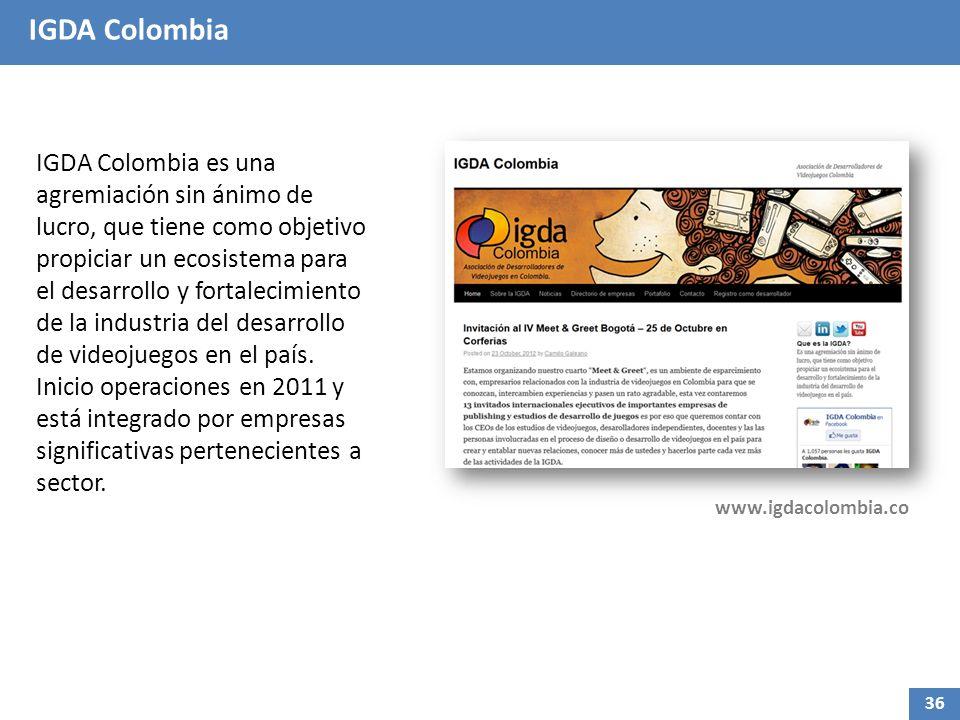 IGDA Colombia IGDA Colombia es una agremiación sin ánimo de lucro, que tiene como objetivo propiciar un ecosistema para el desarrollo y fortalecimiento de la industria del desarrollo de videojuegos en el país.