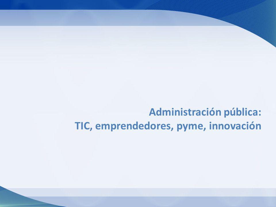 Administración pública: TIC, emprendedores, pyme, innovación