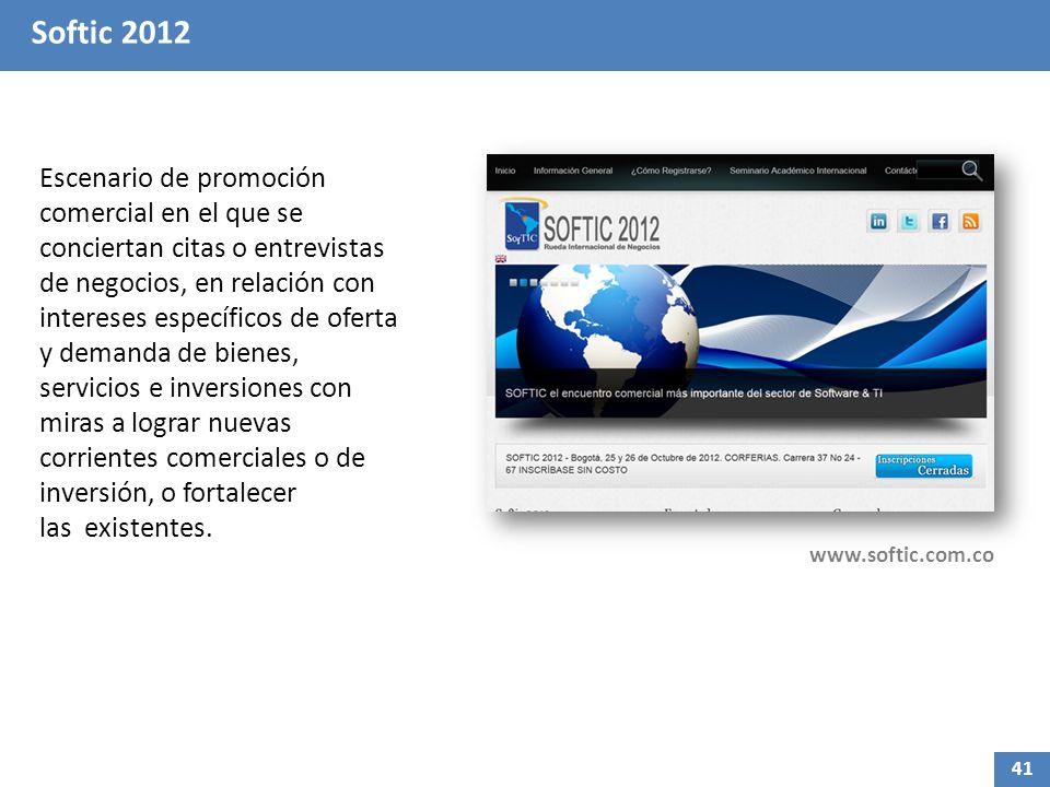 Softic 2012 Escenario de promoción comercial en el que se conciertan citas o entrevistas de negocios, en relación con intereses específicos de oferta