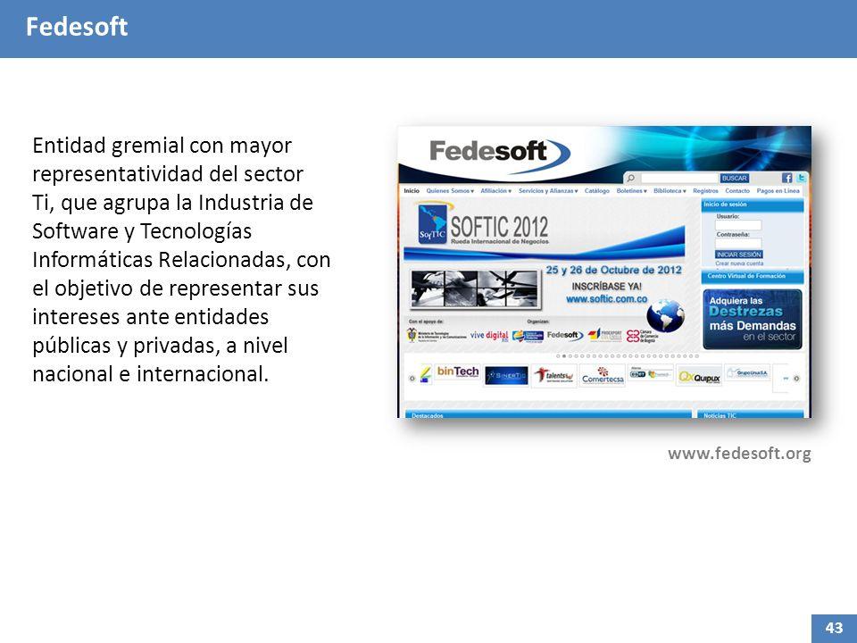 Fedesoft Entidad gremial con mayor representatividad del sector Ti, que agrupa la Industria de Software y Tecnologías Informáticas Relacionadas, con el objetivo de representar sus intereses ante entidades públicas y privadas, a nivel nacional e internacional.