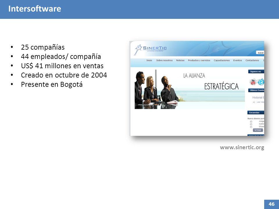 Intersoftware 25 compañías 44 empleados/ compañía US$ 41 millones en ventas Creado en octubre de 2004 Presente en Bogotá www.sinertic.org 46