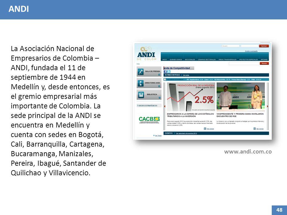 ANDI La Asociación Nacional de Empresarios de Colombia – ANDI, fundada el 11 de septiembre de 1944 en Medellín y, desde entonces, es el gremio empresarial más importante de Colombia.